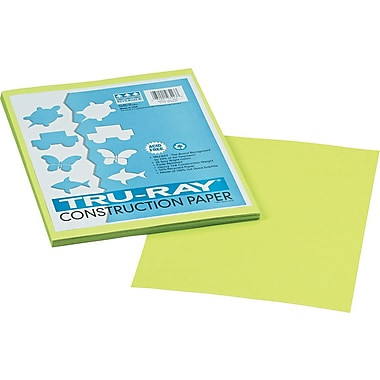 Tru-Ray® Sulphite Construction Paper, 9in. x 12in., Brilliant Lime, 50 Sheets