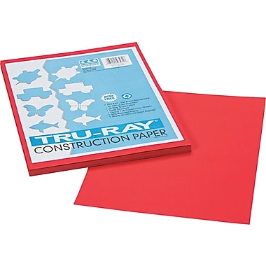 Tru-Ray® Sulphite Construction Paper, 9in. x 12in., Festive Red, 50 Sheets