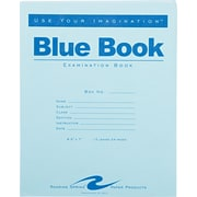 "Roaring Spring Paper Products Blue Exam Book, 8 1/2"" x 7"", 12 sheets/24 pages, wide ruled with margin"
