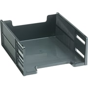 "Rubbermaid High-Capacity Stackable® Tray, Front-Load, Letter, Ebony, 5""H"