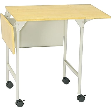 Safco Mobile Machine Stand with Drop Leaves, Oak/Gray