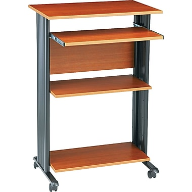 Safco Fixed Height Stand Up Computer Workstation, Cherry