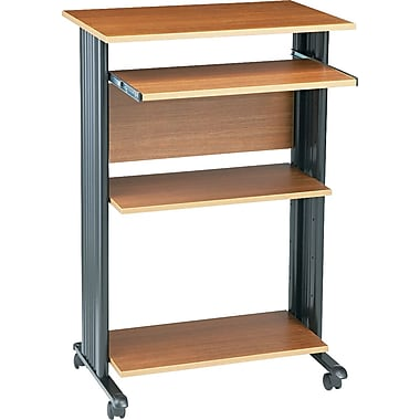 Safco Fixed Height Stand Up Computer Workstation, Oak