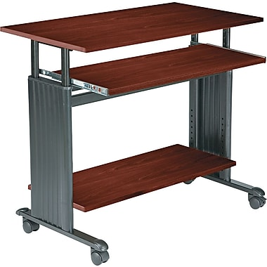 Safco 35in. Adjustable Height Workstation, Cherry