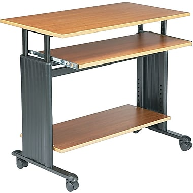 Safco 35in. Adjustable Height Workstation, Oak