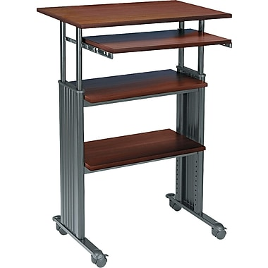 Safco Stand-up 35in.-49in. Adjustable Height Computer Workstation, Cherry