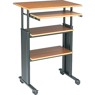 Safco Stand-up 35in.-49in. Adjustable Height Computer Workstation, Oak