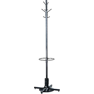 Safco Black Metal Coat Tree with Umbrella Stand