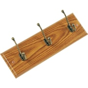 Safco Oak Finish 3 Hook Wall Rack