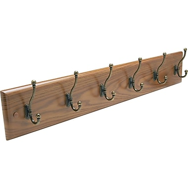 Safco Oak Finish 6 Hook Wall Rack
