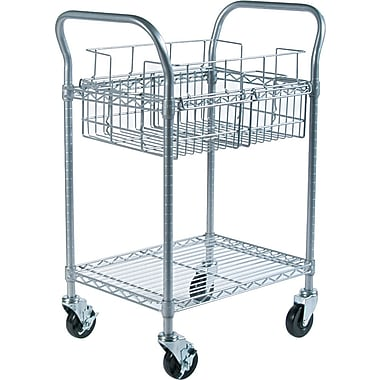 Safco Steel Mail Cart, 75 Folder Capacity, 38 1/2in.H x 18 3/4in.W x 26 3/4in.D