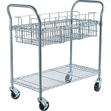 Safco Steel Mail Cart, 150 Folder Capacity, 38 1/2in.H x 18 3/4in.W x 39in.D
