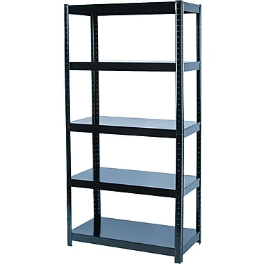 Safco Commercial Boltless Steel Shelving, 5 Shelves, Black, 72in.H x 36 1/2in.W x 18in.D