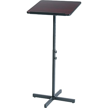 Safco®  Adjustable Speaker Stand, Mahogany Top/Black Base
