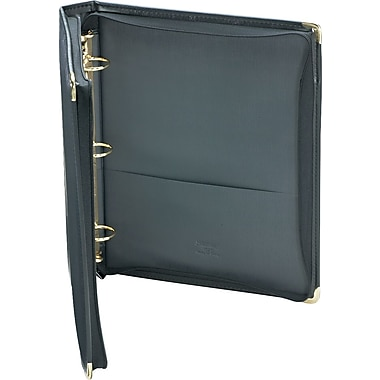 Samsill Classic Collection Ring Binder Padfolio, Two Inside Pockets, Black