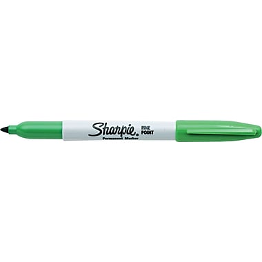 Sharpie Permanent Markers, Fine Point, Green, Each
