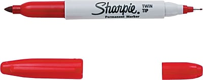 Sharpie Twin Tip Permanent Marker Fine Point and Ultra Fine Point Red 32002
