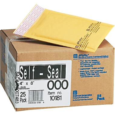 Jiffylite Kraft Bubble Padded Self Seal Mailer #000, 4in. x 8in., 25 Pack
