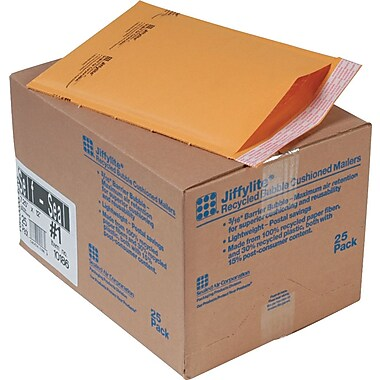 Sealed Air Corporation Jiffylite Self Seal Kraft Cushioned Mailers, Side Seam, #1, Satin Gold, 7 1/4