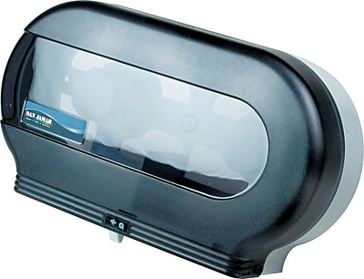 San Jamar Twin Jumbo Bath Tissue Dispenser, Plastic, Transparent Black Pearl (SAN R4000TBK) SJMR4000TBK