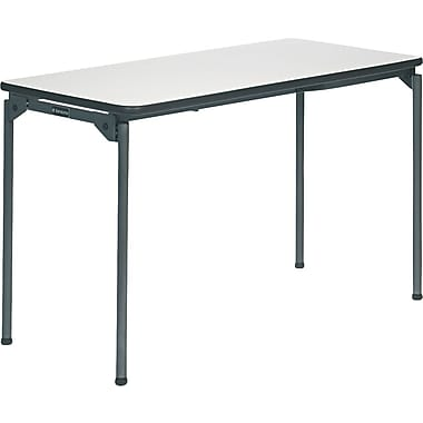 Samsonite 4' Commercial-Grade Resin Folding Banquet Table, Off White with Steel Legs