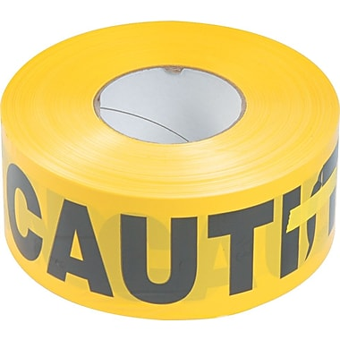 Tatco Caution Barricade Safety Tape, Yellow, 3in. x 1,000 ft. Roll