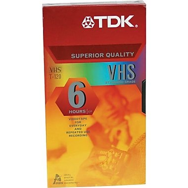 TDK VHS Video Cassettes, Repeated Record/Erase Cycles, Premium Grade, 6 Hours