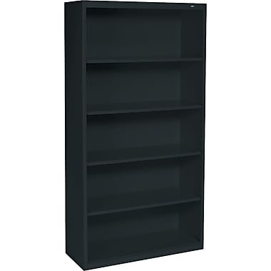Tennsco Metal Bookcase, 5-Shelf, 66in., Black