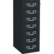 Tennsco 7-Drawer Multi Media Card File for 5x8 Cards, Black