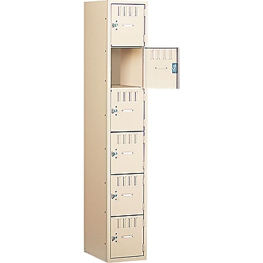 Tennsco Six-Tier Single Unit Box Locker, Sand