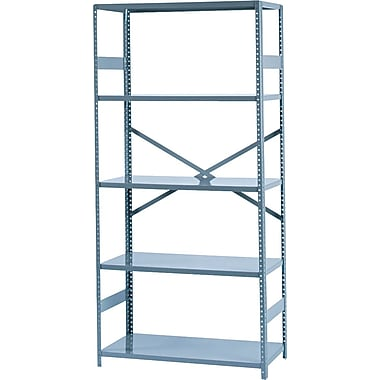 Tennsco Commercial Steel Shelving, 5 Shelves, Gray, 75in.H x 36in.W x 18in.D