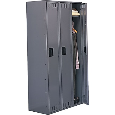 Tennsco 3-Wide 72in. Single-Tier Locker, Gray