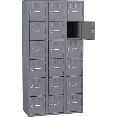 Tennsco Box Locker, 72in.H x 36in.W x 19in.D, Gray