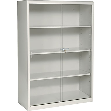 Tennsco Executive Steel Bookcases with Glass Doors, Putty