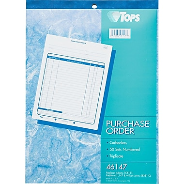 Tops Purchase Order Books, 8-1/2in. x 11in., 3 Part