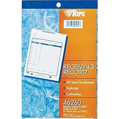 Tops® Receiving Record Book, 5-1/2