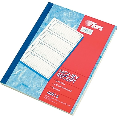Tops Carbonless Money & Receipt Books, 2-3/4in. x 7-1/4in., 2 Part