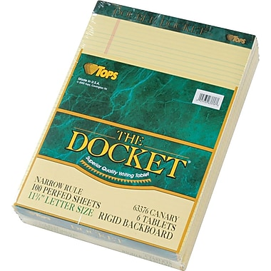 Double Docket® Legal Notepad, Narrow Rule, Canary, 100 Sheets , 6 Pads/Pack, 8-1/2in. x 11-3/4in.