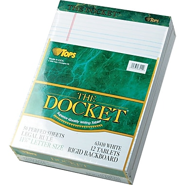Docket® Legal Notepad, Legal Rule, White, Rigid Back, 50 Sheets/Pad, 12 Pads/Pack, 8-1/2in. x 11-3/4in.