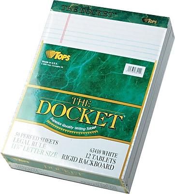 Docket® Legal Notepad, Legal Rule, White, Rigid Back,