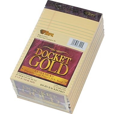 Docket® Gold Notepad, jr. Legal Rule, Canary, 20 lb, Rigid Back, 50 Sheets/Pad, 12 Pads/Pack, 5in. x 8in.