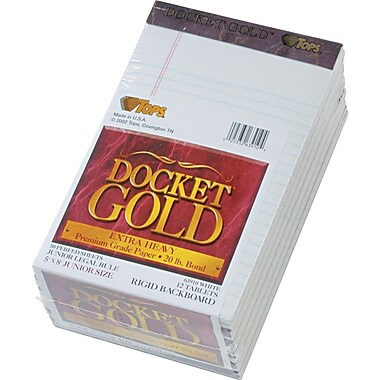 Docket® Gold Notepad, jr. Legal Rule, White, 20 lb, Rigid Back, 50 Sheets/Pad, 12 Pads/Pack, 5in. x 8in.
