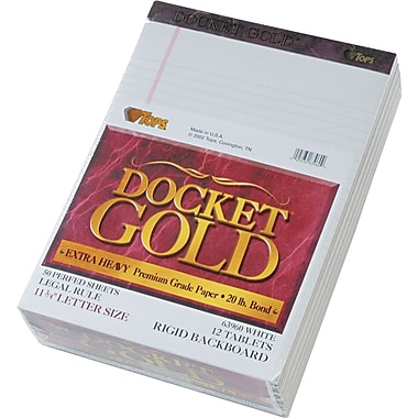 Docket® Gold Notepad, Legal Rule, White, 20 lb, Rigid Back, 50 Sheets/Pad, 12 Pads/Pack, 8-1/2in. x 11-3/4in.
