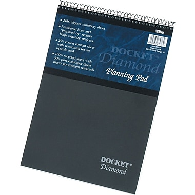 Docket® Diamond, Premium Stationery Wirebound Tablet, White, 60 Sheets/Pad, 8-1/2in. x 11-3/4in.