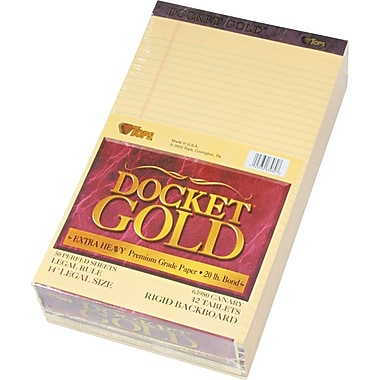 Docket® Gold Notepad, Legal Rule, Canary, Perforated, 20 lb, Rigid Back, 50 Sheets/Pad, 12 Pads/Pack, 8-1/2in. x 14in.