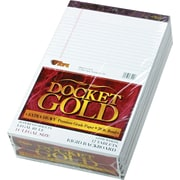 "TOPS® Docket Gold Notepad, 8-1/2"" x 14"", Legal Rule, White, Perforated, 20 lb, Rigid Back, 50 Sheets/Pad, 12 Pads/Pack (63990)"