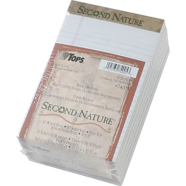 Second Nature® Legal Notepad, 18 lb, jr. Rule, White, Recycled, 50 Sheets/Pad, 12 Pads/Pack, 5in. x 8in.