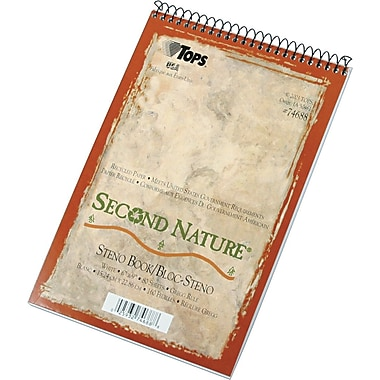 TOPS® Second Nature® Wirebound Steno Book, 6in. x 9in., Gregg Ruling, 80 sheets