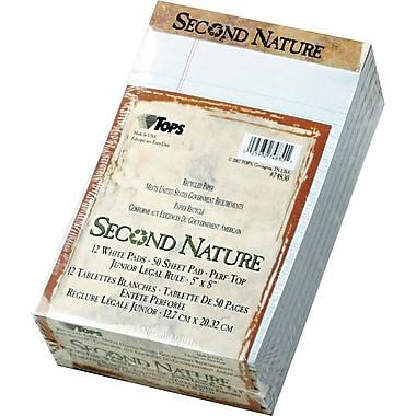Second Nature® Legal Notepad, jr. Legal Rule, White, Perforated, Recycled, 50 Sheets/Pad, 12 Pads/Pack, 5in. x 8in.