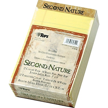 Second Nature® Legal Notepad, jr. Legal Rule, Canary, Perforated, Recycled, 50 Sheets/Pad, 12 Pads/Pack, 5in. x 8in.
